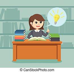 female student got idea while reading a book