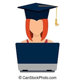 Female student graduation avatar profile.