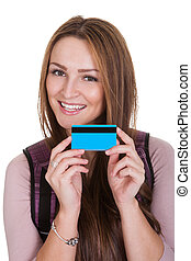 Female Student Holding Credit Card