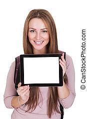 Female Student Holding Digital Tablet