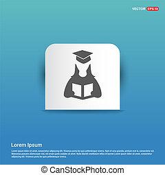 Female student icon - Blue Sticker button