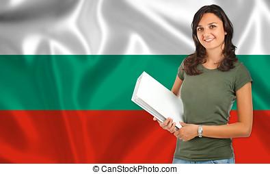 Female student over Bulgarian flag