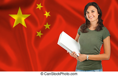 Female student over Chinese flag