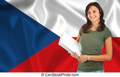 Female student over Czech flag