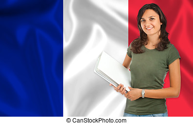 Female student over French flag