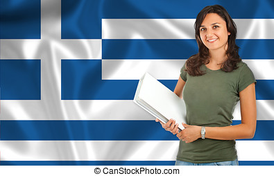 Female student over Greek flag