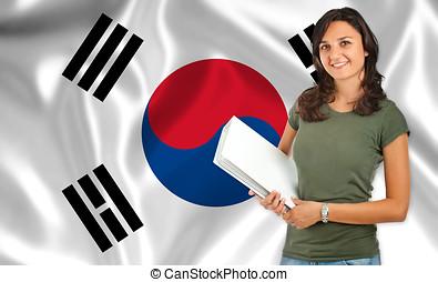 Female student over Korean flag