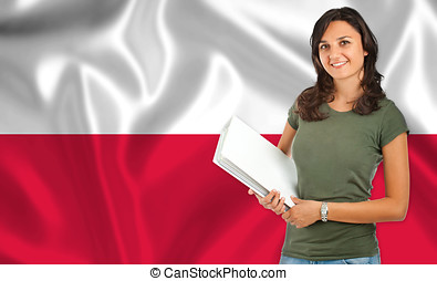 Female student over Polish flag