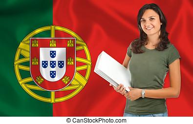 Female student over Portuguese flag