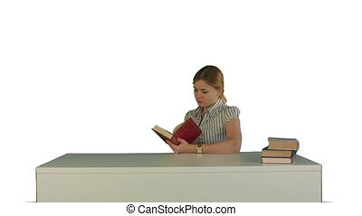 Female student reading a book for finding information on white background isolated