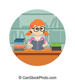 female student reading a book in circle background