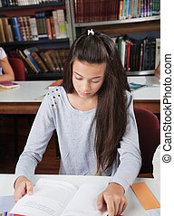 Female Student Reading Book At Table In Library