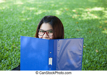 Female student remove the face cover