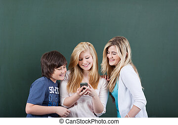 Female Student Sharing Messages With Friends On Mobilephone