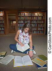 Female student sitting with books on the library floor