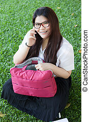 Female student talking on the phone