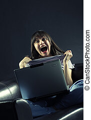 Female student with a laptop cheering in success, similar pictures on my portfolio