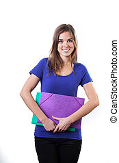 Female student with colorful folders