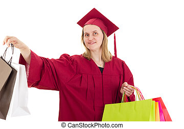 Female student with shopping bags