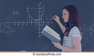 Female student writing a mathematical equation on the board