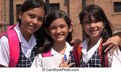 Female Students Posing And Smiling