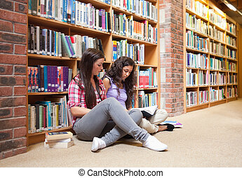 Female students with a book