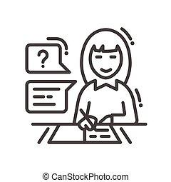 Female studying line design single isolated icon - School...