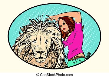 Female stylist hairdresser cuts the mane of a lion. Comic...