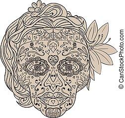 Female Sugar Skull Calavera Retro - Illustration of a...