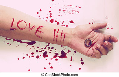 Female suicide with love messages , Knife and a ring on the...