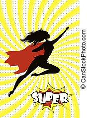 Female Super Hero silhouette and text SUPER in retro comic pop art style