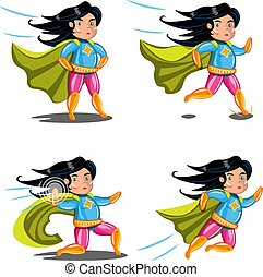 Female superhero action poses collection. Vector...