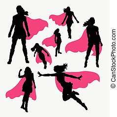 Female superhero silhouettes - Female people with wing. ...