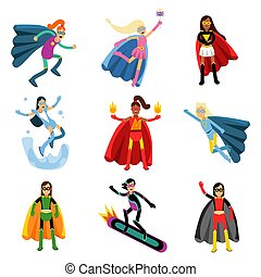 Female superheroes in different costumes set of colorful vector Illustrations