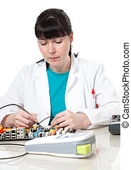 Female support computer engineer - IT woman repair defect