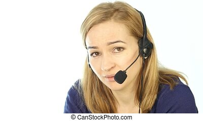 Female support phone operator in headset. employee working in a call center.