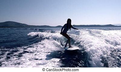 Female Surfer - Blonde Surfer Girl Waving