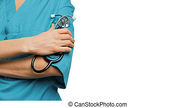 Female surgeon doctor in green coat holds stethoscope in hand. Isolated background with copy-space. Medicine and healthcare concept
