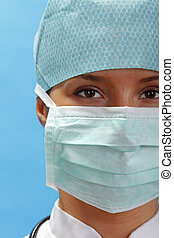 Female surgeon - Portrait of a female surgeon with...