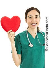 Female surgeon showing heart