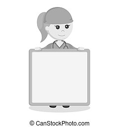 Female surgeon with empty board