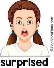 Female surprised facial expression illustration