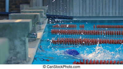 Female swimmer cheer at finishing line of swimming pool 4k...