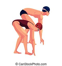 Female swimmer in starting position, ready do dive and swim