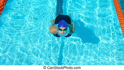Female swimmer swimming inside the pool 4k