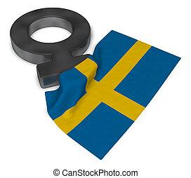 female symbol and flag of sweden - 3d rendering