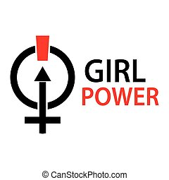 Female symbol and word girl power. Flat design. vector illustration on the white background