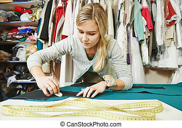 Female tailor at work