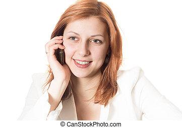female talking on a phone