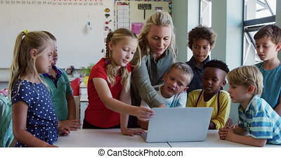 Female teacher and Group of kids using laptop in the class...